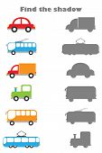 Find The Shadow Game With Pictures Of Transport For Children, Education Game For Kids, Preschool Wor poster