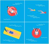 Cartoon Style People On Vacation Swimming In Pool Relaxing. People On Mattress Lifebuoy Lifeline Sum poster
