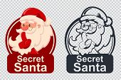 Secret Santa Vector Cartoon Funny Christmas Icon Isolated On A Transparent Background. poster