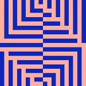 Vector Geometric Lines Pattern. Abstract Graphic Striped Ornament. Simple Blue And Pink Texture With poster