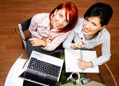 image of human resource management  - two pretty caucasian women are working together - JPG