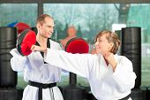 stock photo of black-belt  - People in a gym in martial arts training exercising Taekwondo - JPG