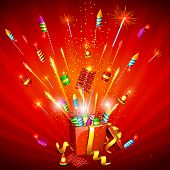 picture of deepavali  - illustration of explosion of firecracker from gift box - JPG
