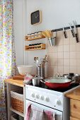 Domestic kitchen interior with stove poster