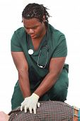 picture of cpr  - Medical technician doing CPR - JPG