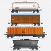 stock photo of covered wagon  - Vector Collection of Train Cargo Wagons - JPG