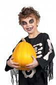 image of antichrist  - Portrait of little boy wearing halloween costume with pumpkin on white background - JPG