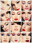 Collage. Beautiful young women with stylish cat eye make-up. Makeup, fashion, beauty.