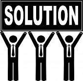 Stick Men Business Holding Sign Saying Solution. poster