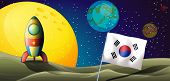 image of outerspace  - Illustration of a spaceship near the Korean flag at the outerspace - JPG