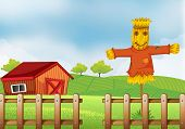 foto of scarecrow  - Illustration of a scarecrow inside the wooden fence - JPG