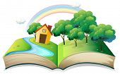 stock photo of indigo  - Illustration of a book with a story of a house at the forest on a white background - JPG