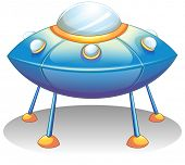 picture of flying saucer  - Illustration of a flying saucer on a white background - JPG