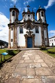 stock photo of assis  - View of the Igreja de Sao Francisco de Assis of the unesco world heritage city of ouro preto in minas gerais brazil - JPG