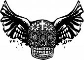 picture of hells angels  - Woodcut style image of a Mexican Day of the Dead skull with wings - JPG