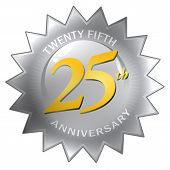 Silver 25Th Anniversary Seal Badge