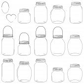 stock photo of mason  - Large Set of Hand Drawn Mason Jar Vectors - JPG