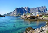 stock photo of lofoten  - Arctic scenery of Lofoten Islands in Norway - JPG