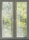 stock photo of louvers  - Window with closed blinds overlooking the garden - JPG