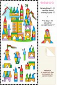 Visual puzzle - toy town buildings and details