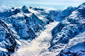 stock photo of denali national park  - Aerial View of the Very Start of an Alaskan Glacier - JPG