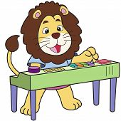 stock photo of organist  - Cartoon lion playing an electronic organ - JPG