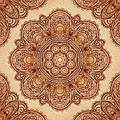 picture of mehndi  - Ornate vintage vector napkin background in Indian mehndi style - JPG