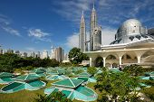 pic of petronas twin towers  - Kuala Lumpur Cityscape with twin tower and mosque - JPG