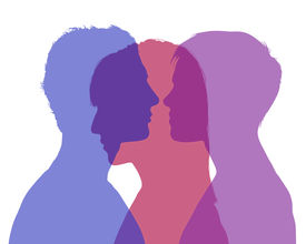 foto of superimpose  - silhouette of young man and woman looking on each other and a shadow of another woman superimposed on their silhouette symbol of man - JPG