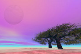 image of fantasy landscape  - Surreal fantasy landscape with a large moon and trees - JPG