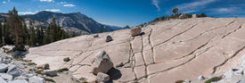 image of errat  - Panoramic view from Olmsted Point at the stone hill with glacial erratic boulders in Yosemite National Park - JPG