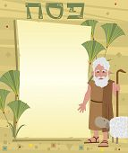 image of passover  - Passover banner with decorative background and Moses standing next to it - JPG