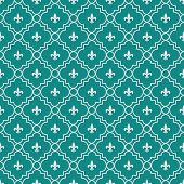 White And Dark Teal Fleur-de-lis Pattern Textured Fabric Background