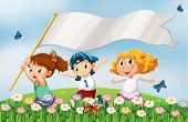 stock photo of playmates  - Illustration of the three kids at the hilltop running with an empty banner - JPG