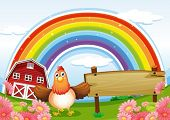 stock photo of hen house  - Illustration of a farm with an empty wooden board and a rainbow above - JPG