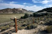 picture of stagecoach  - Fence along the overlook of stagecoach pass in Wyoming - JPG