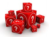 stock photo of guess  - Group of big and small cube box with question mark 3d illustration - JPG