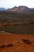 pic of volcanic  - volcanic timanfaya red rock stone sky hill and summer in los volcanes lanzarote spain plant flower bush - JPG