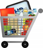 stock photo of grocery-shopping  - illutration of a shopping trolley full of shopping - JPG