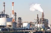 image of gasoline station  - view of petrochemical industrial plant or oil refinery - JPG