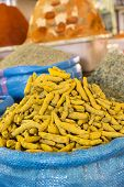 picture of curcuma  - Curcuma spices on a market in Morocco - JPG