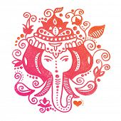 stock photo of indian elephant  - Lord Ganesh Indian god colorful oriental doodle hand drawn illustration in vector - JPG