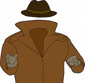 stock photo of trench coat  - Cartoon of trench coat and hat around invisible man - JPG