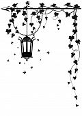 picture of ivy vine  - vector border with street lamp butterflies and ivy for corner design - JPG