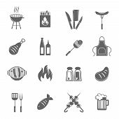 picture of fish icon  - Fish and meat bbq food fire outdoor party icons set isolated vector illustration - JPG
