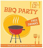 picture of bbq party  - Bbq grill party best in town flyer promo restaurant poster vector illustration - JPG