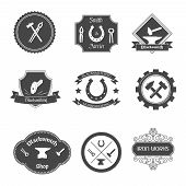 picture of tong  - Blacksmith shop graphic labels collection set with ironwork gates decorative ornamental wrought iron fences isolated vector illustration - JPG