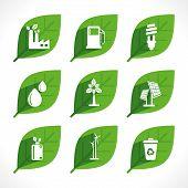 stock photo of water-mill  - creative green energy or eco icon design concept vector - JPG