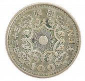 picture of japanese coin  - Old 100 japanese yen coin isolated on white - JPG