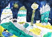 "foto of fantastic  - ""Fantastic city"". Artwork by a seven years old child. Painted in water-colors and marker pen - JPG"